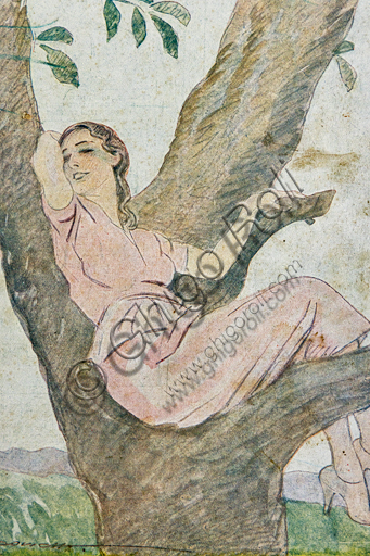 """""""Proton, The Woman's Wellness"""", Illustration by Marcello Dudovich, 1922, letterpress print. Detail."""