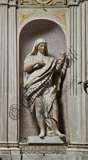 """Genova, Duomo (Cattedrale di S. Lorenzo), interno, Cappella Lercari o del Santissimo Sacramento (abside settentrionale): """"Prudenza"""", di Luca Cambiaso, 1567-9."""