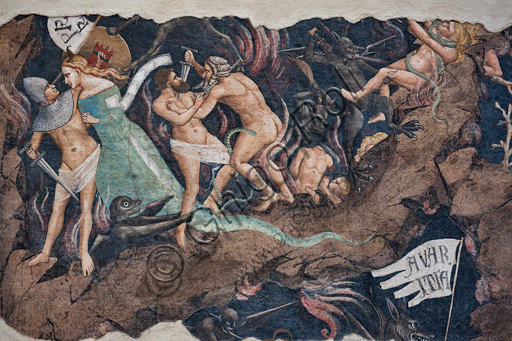 "Basilica of the Holy Cross: ""Punishment of the Lustful"",  fragment from the cycle of detached frescoes ""The Triumph of Death, Last Judgement and Hell"", by Andrea Orcagna, about 1350,"