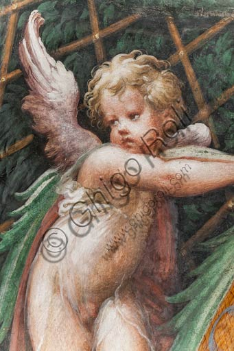 Parma, Fontanellato, Rocca Sanvitale, room of Diana and Actaeon: detail of a putto, from the cycle of frescoes by Parmigianino (Girolamo Francesco Maria Mazzola) depicting the myth of Diana and Actaeon, taken from Ovid's Metamorphoses. The room, frescoed in 1524, probably was the bathroom of Paola Gonzaga, wife of Galeazzo Sanvitale.
