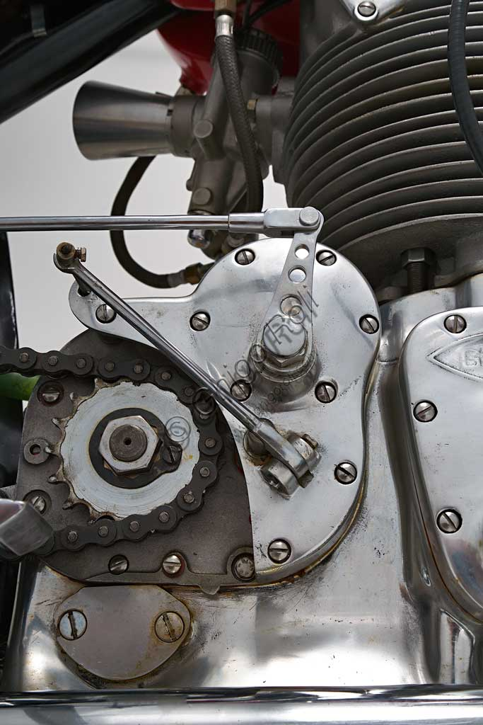 Ancient Motorbike Gilera Saturno Sanremo. Engine.