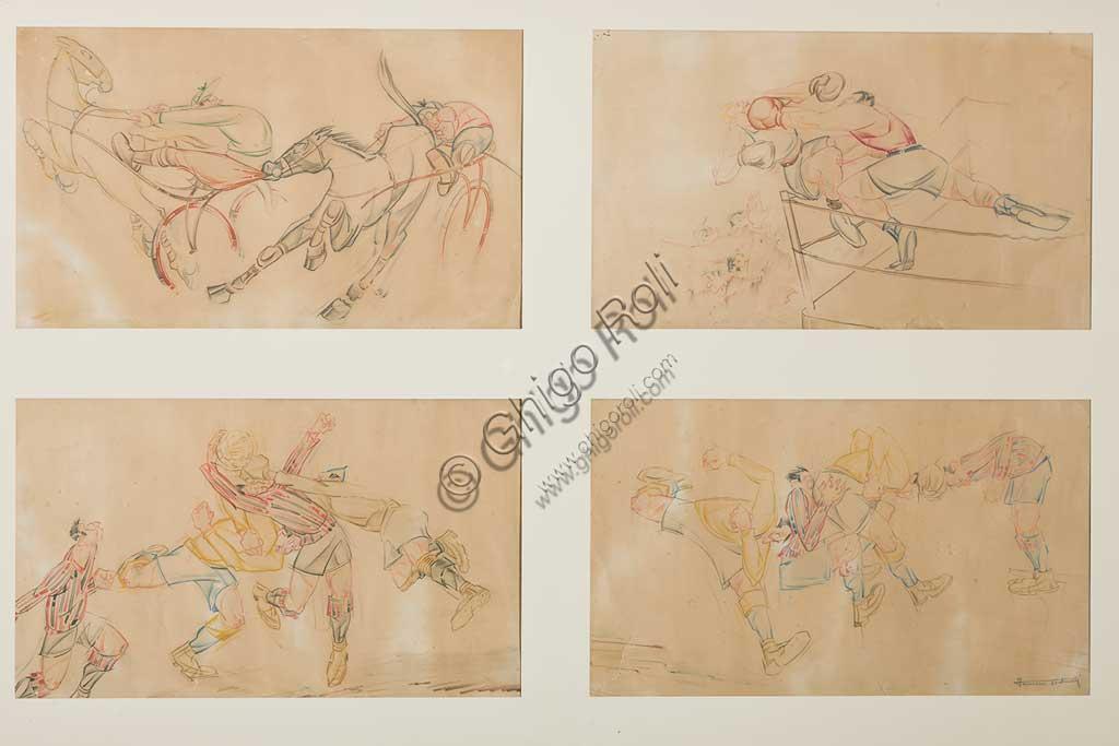 """Collezione Assicoop Unipol: Ferruccio Venturelli (1888 - 1969); """"Quattro Caricature""""; tecnica mista, cm. 22 x 36,5."""