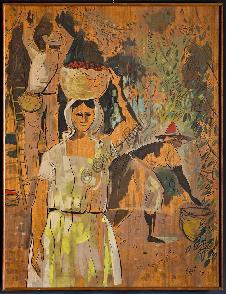"Assicoop - Unipol Collection:  Claudio Spattini;""The Coffee Harvest""; oil on. plywood"