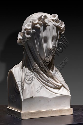 "Raffaele Monti: ""Veiled Dame"", 1845, marble sculpture."