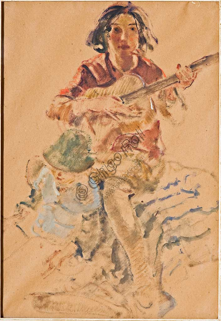 "Assicoop - Unipol Collection:  Giovanni Forghieri (1898 - 1944), ""Girl playing the Guitar"". Mixed media on paper, cm 46,5 x 33,5."
