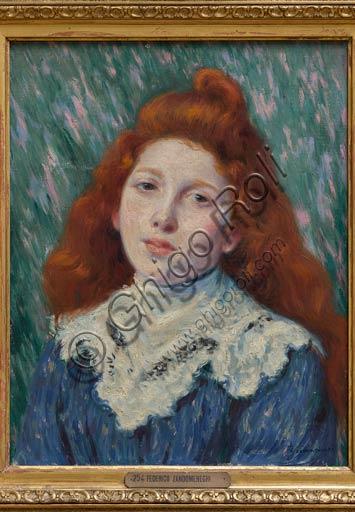 """Piacenza, Galleria Ricci Oddi:  """"Ragazza dal colletto bianco"""",  olio su tela di Federico Zandomeneghi (1841 - 1917)."""