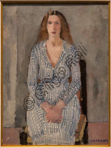 """Museo Novecento: """"Ragazza in azzurro"""", di Felice Casorati, 1933. Olio su tela."""
