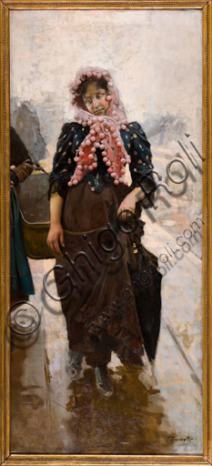 "Assicoop - Unipol Collection: Arnaldo Ferraguti (Ferrara 1862 - 1925), ""Young Girl with an Umbrella"", oil painting."
