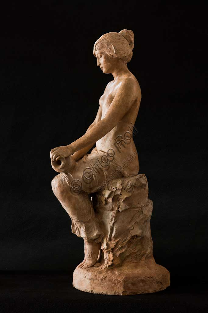 "Assicoop - Unipol Collection: Silvestro Barberini (1854 - 1916), ""Sitting Girl""; terracotta. H.cm 72."