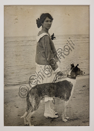 """""""Girl on the beach with a greyhound"""", bromide silver gelatine by Marcello Dudovich,  1910."""