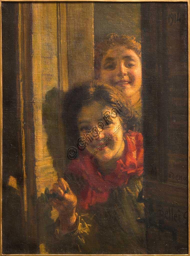 """Collezione Assicoop - Unipol: """"Ragazze alla porta"""", 1914, olio su tela, di Gaetano Bellei (1857 - 1922)."""