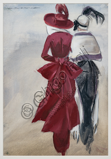 """""""Girls from the back wearing a feathered hat"""", tempera, graphite and pastel sketch on paper,  by Marcello Dudovich,  1954-5."""