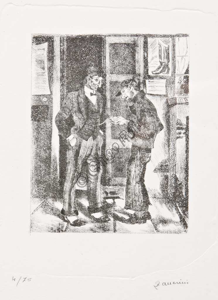 "Assicoop - Unipol Collection:Remo Zanerini, ""A boy watching a gentleman's pocket watch"", Lithograph"