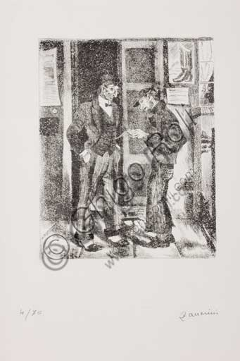 "Assicoop - Unipol Collection:Remo Zanerini (1923 -), ""Boy looking at a gentleman's pocket watch"". Lithograph."