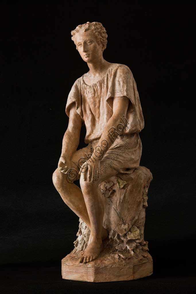 "Assicoop - Unipol Collection: Silvestro Barberini (1854 - 1916), ""Sitting Boy""; terracotta. H.cm 72."