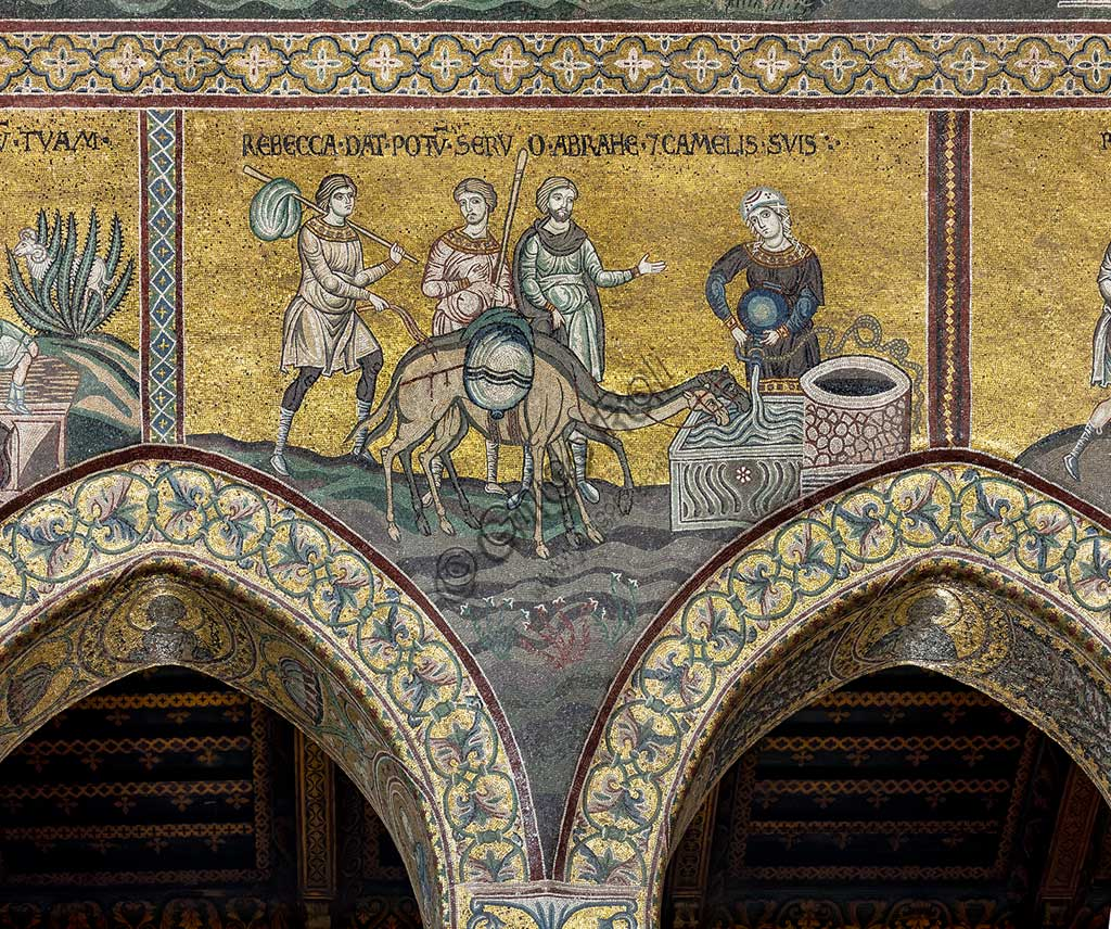 "Monreale, Duomo: ""Rebecca makes Abraham and his camels drink"". Old Testament, Cycle of Abraham. , Byzantine mosaic, Old Testament cycle - Abraham, XII - XIII century  Latin inscription: ""REBECCA DAT POTUM SERVO ABRAMÆ ET CAMELIS SUIS""."