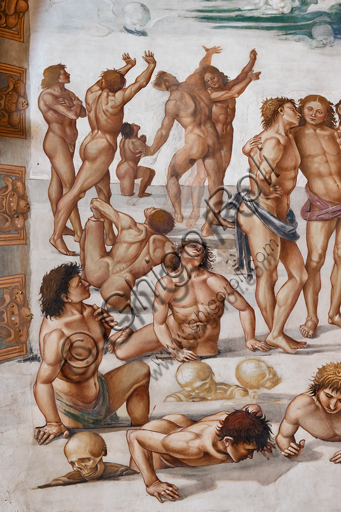 "Orvieto,  Basilica Cathedral of Santa Maria Assunta (or Duomo), the interior, Chapel Nova or St. Brizio Chapel, lunette of the east wall: ""Resurrection of the flesh"", fresco by Luca Signorelli, (1500 - 1502). Detail."