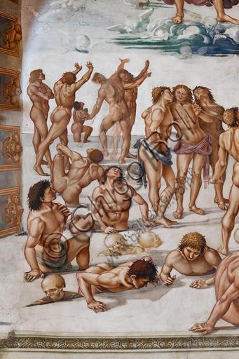 """Orvieto, Basilica Cattedrale di Santa Maria Assunta (o Duomo), interno, Cappella Nova o di San Brizio, lunetta della parete est: """"Resurrezione della carne"""", affresco di Luca Signorelli, (1500 - 1502). Particolare."""