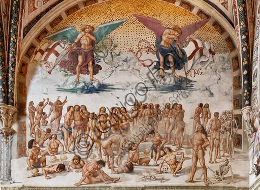 """Orvieto, Basilica Cattedrale di Santa Maria Assunta (o Duomo), interno, Cappella Nova o di San Brizio, lunetta della parete est: """"Resurrezione della carne"""", affresco di Luca Signorelli, (1500 - 1502)."""