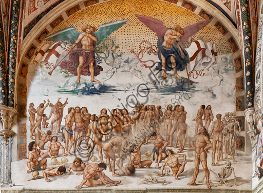 "Orvieto,  Basilica Cathedral of Santa Maria Assunta (or Duomo), the interior, Chapel Nova or St. Brizio Chapel, lunette of the east wall: ""Resurrection of the flesh"", fresco by Luca Signorelli, (1500 - 1502)."