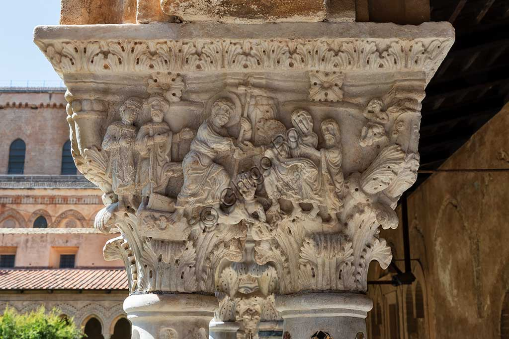 Monreale, Duomo, the cloister of the Benedectine monastery (XII century): the Southern side of the capital E24 (Resurrection of Christ and Descent to the limbo).