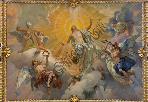 """Genova, Duomo (Cattedrale di S. Lorenzo),  interno, cappella Cybo (braccio settentrionale del transetto),  volta: """"Resurrezione di Gesù Cristo"""", affresco di L. Pogliaghi (1910)."""