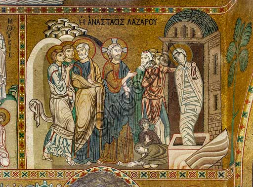 "Palermo, The Royal Palace or Palazzo dei Normanni (Palace of the Normans), The Palatine Chapel (Basilica), the nave, cycle of mosaics on the life of Jesus: the ""The Resurrection of Lazarus"", XII century."