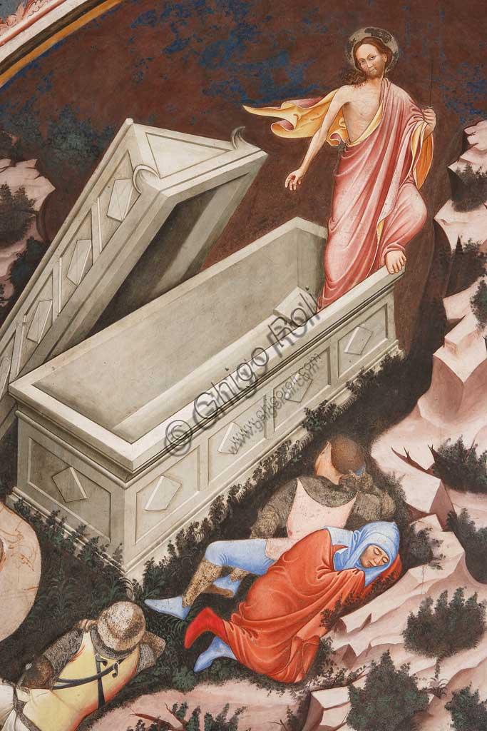 """Rocca di Vignola, Cappella Contrari, parete settentrionale: """"Resurrezione"""" e """"Discesa al Limbo"""", affresco del Maestro di Vignola, anni Venti del Quattrocento. Particolare della Resurrezione con Cristo e i soldati romani addormentati."""
