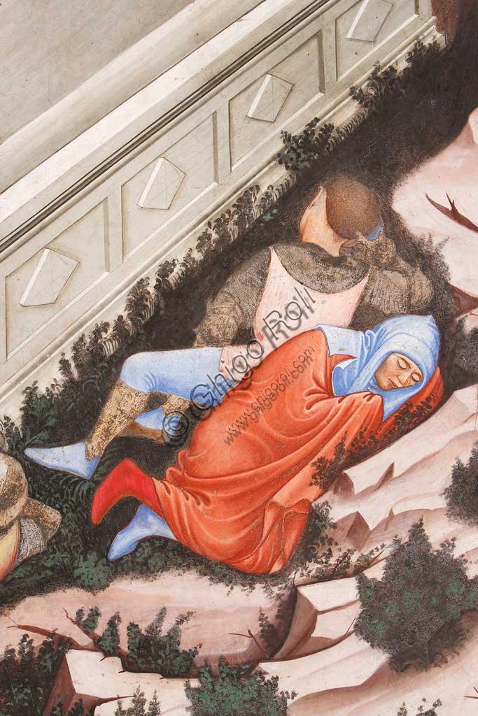 """Rocca di Vignola, Cappella Contrari, parete settentrionale: """"Resurrezione"""" e """"Discesa al Limbo"""", affresco del Maestro di Vignola, anni Venti del Quattrocento. Particolare della Resurrezione con i soldati romani addormentati."""