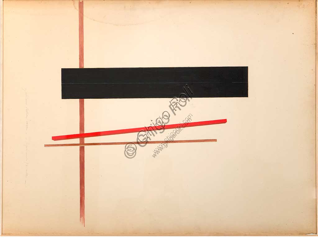 "Assicoop - Unipol Collection: Giuliano Della Casa (1942), ""A Reference, Two Beams"". Mixed media on cardboard, cm 98 x 72,5."