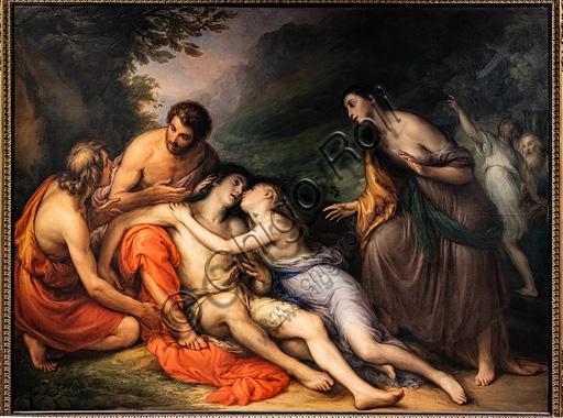 """Giovanni Carnovali, detto il Piccio: """"Rinvenimento di Aminta tra le braccia di Silvia"""", olio su tela, 1832-33 circa."""