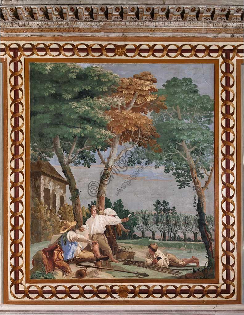 """Vicenza, Villa Valmarana ai Nani, Foresteria, Stanza delle Scene Campestri: """"Il riposo dei contadini"""" , affresco di Giandomenico Tiepolo, 1757."""