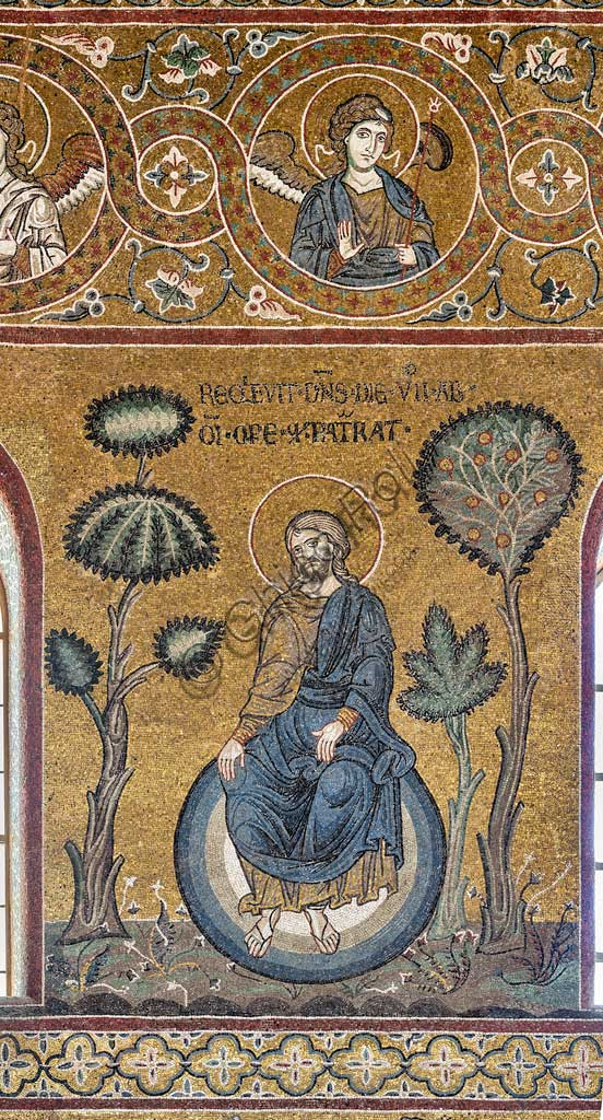 "Monreale, Duomo: ""The Creator's Rest on the Seventh Day"", Old Testament Cycle - Creation, byzantine mosaic, XII - XIII sec.Latin inscription: ""REQUIEVIT DOMINUS DIE SEPTIMO AB OMNI OPERE QUOD PATRARAT""."