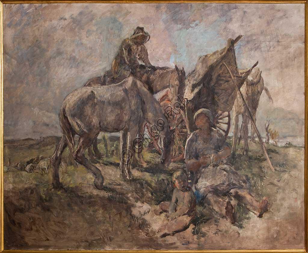 """Collezione Assicoop - Unipol: Giuseppe Graziosi (1879-1942), """"Riposo nei Campi"""". Olio su compensato, cm. 210 x 153."""