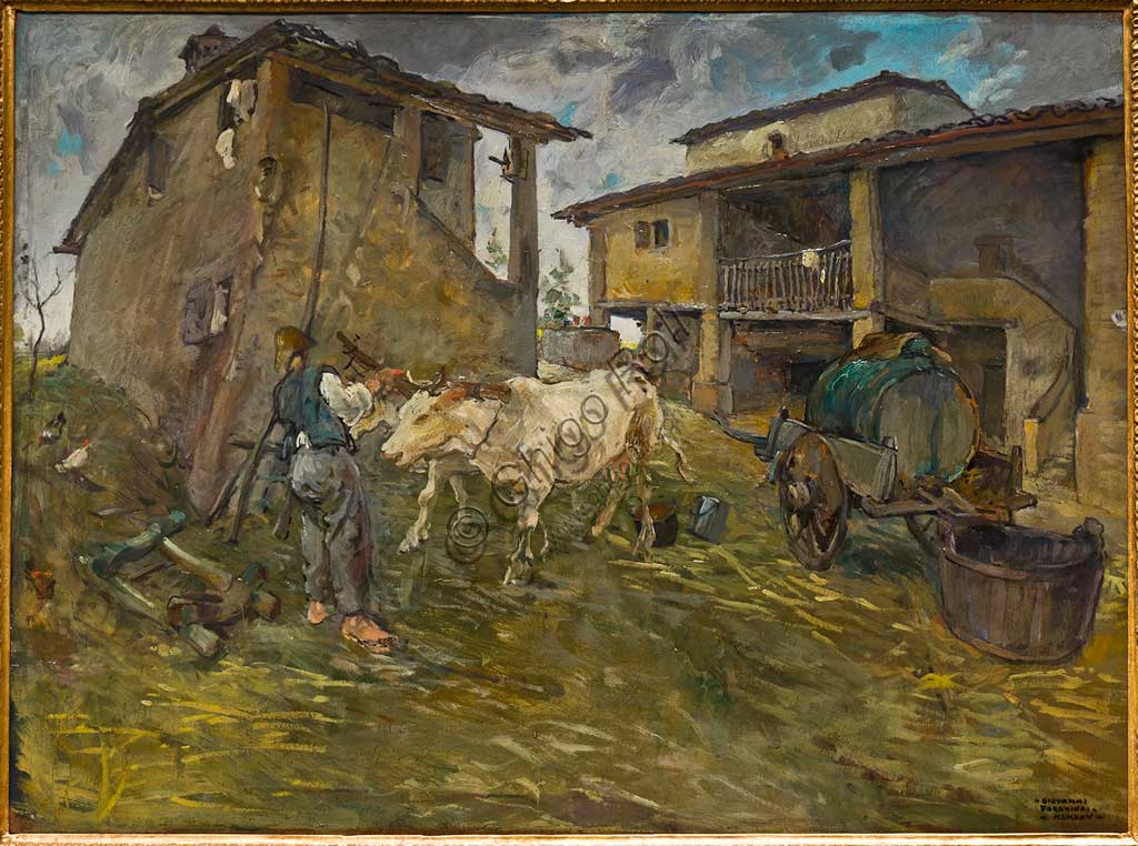 "Assicoop - Unipol Collection:  Giovanni Forghieri, ""Coming back from the Fields""; oil on plywood."