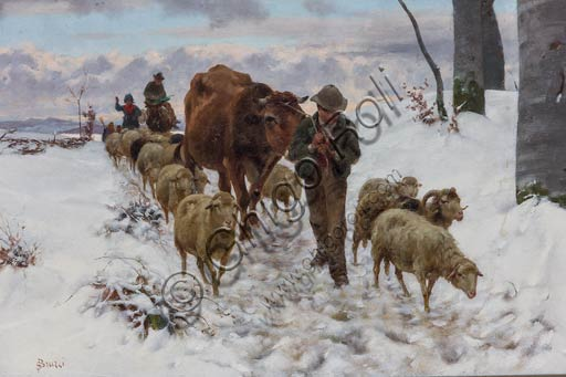 "Piacenza, Galleria Ricci Oddi: ""Coming back from the Market after the Snowfall"" (before 1877),  oil painting by Stefano Bruzzi (1835 - 1911)."
