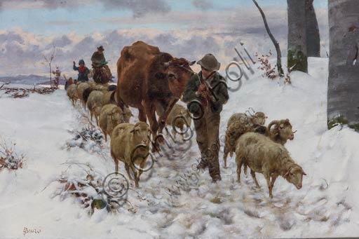 """Piacenza, Galleria Ricci Oddi:   """"Ritorno dal mercato dopo la nevicata"""" (prima del 1877), olio su tela di Stefano Bruzzi (1835 - 1911)."""