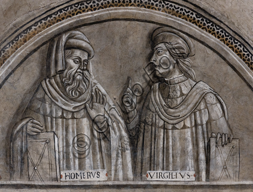 """""""Portraits of Homer and Virgil"""".Orvieto, MODO (Museum of the Opera of the  Duomo of Orvieto): Alberi Library, a cycle of monochrome frescoes where famous classical masters of different subjects are represented (law, medicine, astronomy, grammar), attributed to Luca Signorelli's pupils, 1501-1503."""