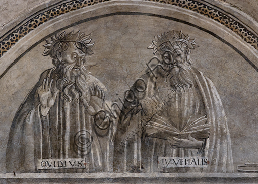 """""""Portraits of Ovid and Juvenal"""".Orvieto, MODO (Museum of the Opera of the  Duomo of Orvieto): Alberi Library, a cycle of monochrome frescoes where famous classical masters of different subjects are represented (law, medicine, astronomy, grammar), attributed to Luca Signorelli's pupils, 1501-1503."""
