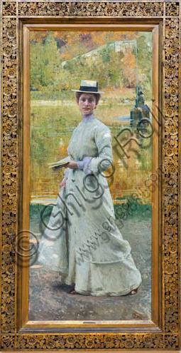 """Piacenza, Galleria Ricci Oddi:  """"Ritratto all'aria aperta"""",   di Giacomo Grosso (1851 - 1920)."""