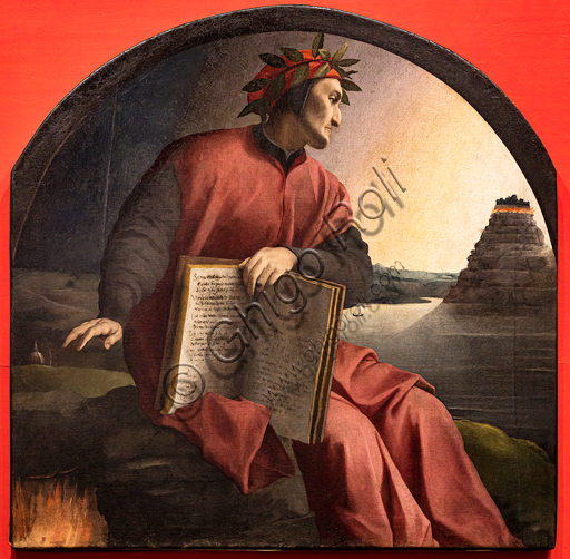 """""""Allegorical portrait of Dante"""". Agnolo Bronzino 1532-1533, private collection.On the right the hill of Purgatory. In the centerDante shows a volume with pages referring to Canto XXV of Paradise. With his right hand he protects Florence, represented by his most important and representative buildings. Bottom left: the flames of Hell."""