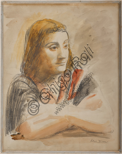 "Assicoop - Unipol Collection: Achille Funi (Ferrara,1890 - 1972), ""Portrait"", mixed media on paper."