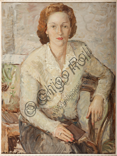 "Assicoop - Unipol Collection: Jodi Casimiro (1886 - 1948), ""Portrait"", oil painting on panel."