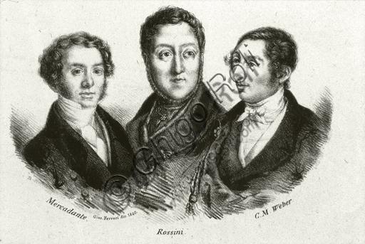 """""""Portrait of Fthe composers Saverio Mercadante, Gioacchino Rossini e Carl Maria von Weber"""". Engraving."""