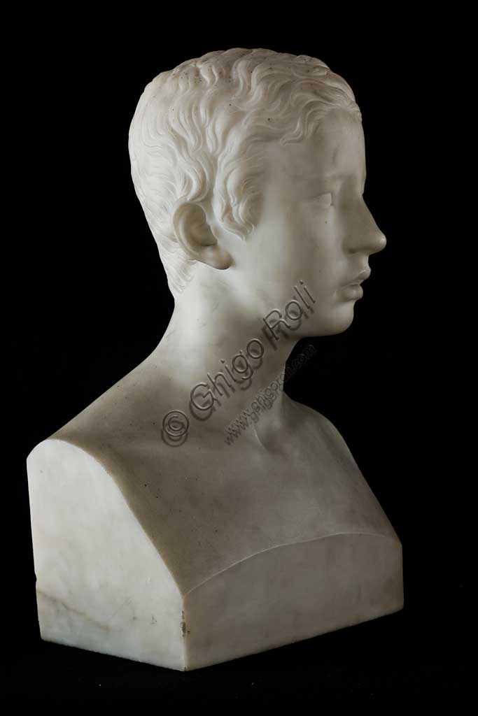 "Assicoop - Unipol Collection: Giuseppe Obici""Portrati of Prince Francis of Austria Este"", 1835Bust in Carrara Marble, cm 50,6 x 28,5 x 17,5"