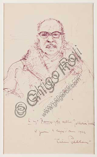 "Assicoop - Unipol Collection: Tino Pelloni(1895 - 1981), ""Ritratto dell' Ingegner Zampighi"". Ball-point pen on paper. 1964"