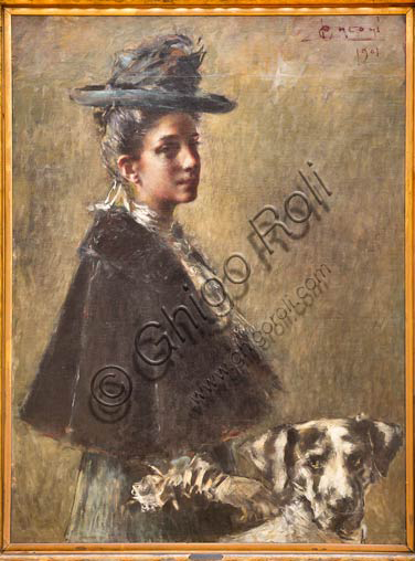 "Piacenza, Galleria Ricci Oddi: ""Portrait of Mrs Torelli"", (1901), oil painting by Luigi Conconi (1852 - 1917)."
