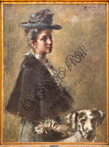 """Piacenza, Galleria Ricci Oddi:  """"Ritratto della Signora Torelli"""" (1901),   olio su tela di Luigi Conconi (1852 - 1917)."""