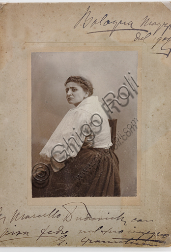 """""""Portrait of the actress Emma Gramatica"""", with a dedication to Marcello Dudovich, by Mario Nunes Vais, bromide silver gelatine, 1902."""