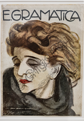 """""""Portrait of the actress Emma Gramatica"""" on a magazine cover, by Marcello Dudovich, 1920, letterpress print."""